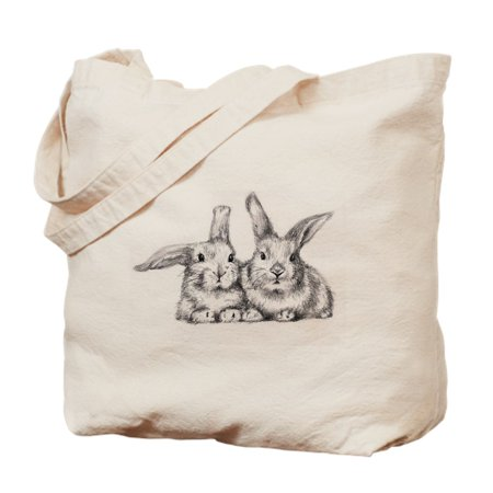 Rabbit Bag - CafePress - 2 Bunny Rabbits - Natural Canvas Tote Bag, Cloth Shopping Bag