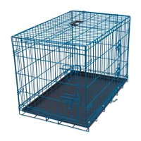 Internet's Best Wire Dog Kennel | Medium (36 Inches) | Double Door Metal Steel Crates | Indoor Outdoor Pet Home | Folding and Collapsible Cage | Blue
