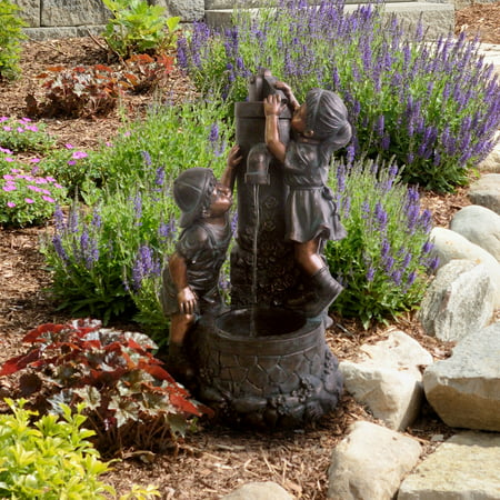 Pure Garden Outdoor Water Fountain With Boy and Girl, Antique Bronze Design and Soothing Sound for Decor on Patio, Lawn and Garden