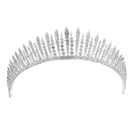 Vintage Wedding Bridal Birthday Silver Tiara Jewelry Crystal Rhinestone Crown Headband - Bridal Tiaras