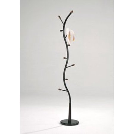 Legacy Decor Metal and Wood Hall Tree Coat Hat Rack Black with Walnut Color Accents ()