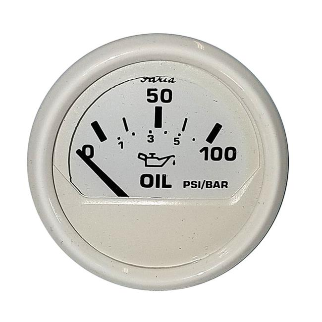 Faria Beede Instruments 13145 2 in. 100 PSI Oil Pressure Gauge, Dress White - image 1 of 1