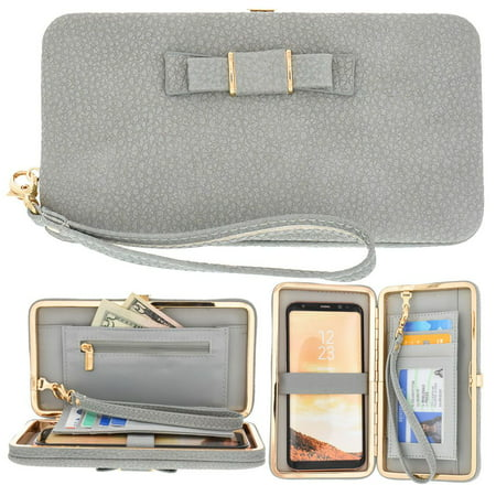 CellularOutfitter Bow Clutch Wallet w/ Hideaway Wristlet - Built-In Card and Money Pockets - (Bow Front Clutch)