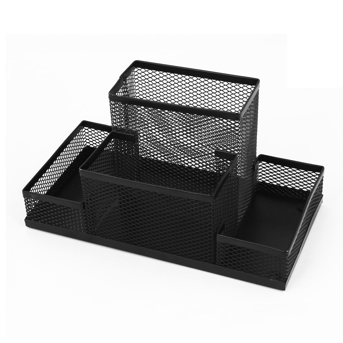Unique Bargains Functional 4 Compartment Wire Mesh Pen Pencil Holder Desk Organizer