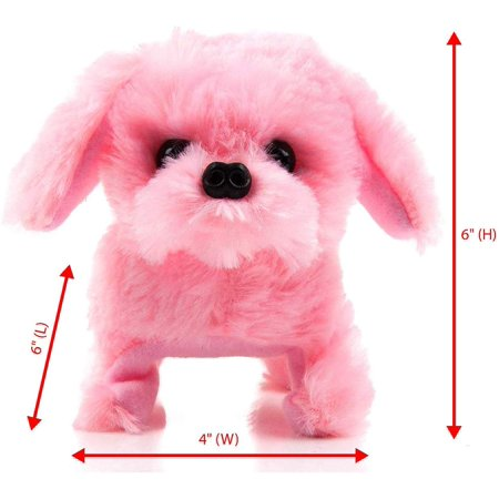 Toysery Puppy Plush Dog Toy for Kids - Puppy Toy Somersaults, Walks, Sits, Barks - Battery Operated (Pink) Doug Childrens Toys