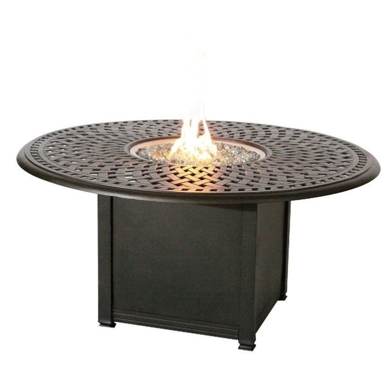 Darlee Series 60 Round Patio Propane Fire Pit Dining Table