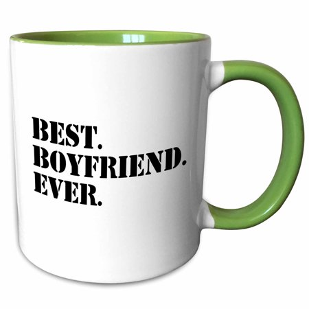 3dRose Best Boyfriend Ever - fun romantic love and dating gifts for him - for anniversary or Valentines day - Two Tone Green Mug, (Best Gift For Valentines To A Boyfriend)