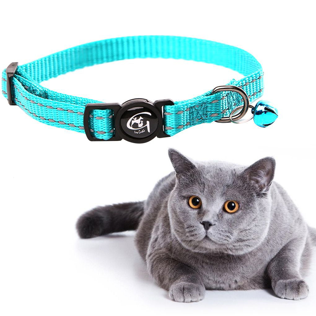 Reflective Cat Collar with Bell Nylon Pet Neck Belt Collar Strip Puppy Neck Rope Cord Fabric by WE00802