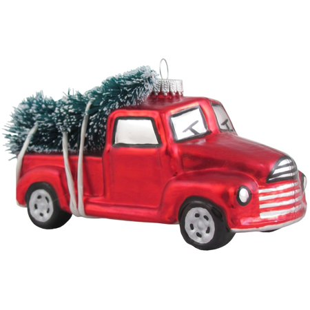 Vintage Christmas Ornaments (Vintage Look Pickup Truck Hauling Tree Christmas Holiday Ornament)