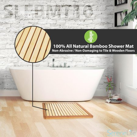 SereneLife SLFBMT10 - Bamboo Bath Mat - Heavy Duty Natural Wood Bathroom or Shower Foot Floor Rug with Elevated Design for Water Evaporation and Non Slip Rubber for Indoor & Outdoor Use