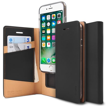 - Apple iPhone 7 Plus / iPhone 8 Plus Phone Case, Ringke [SIGNATURE] Genuine Leather Case [3 ID / Card Slot] Premium Folio Multi Executive Travel Wallet Case - Black
