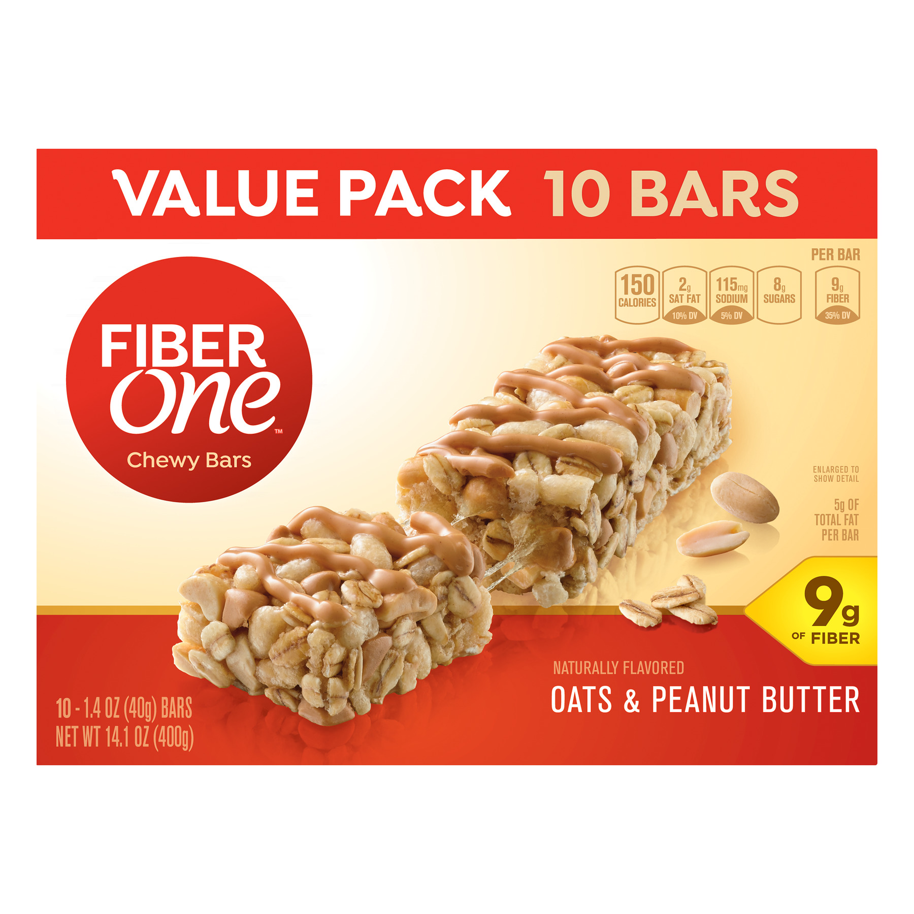 Fiber One Chewy Bar Oats & Peanut Butter 10 Fiber Bars 14