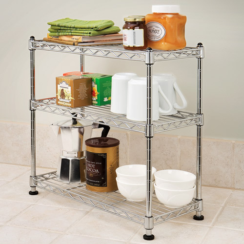 Seville Classics 3-Tier Mini Steel Shelving (Zinc), SHE05105