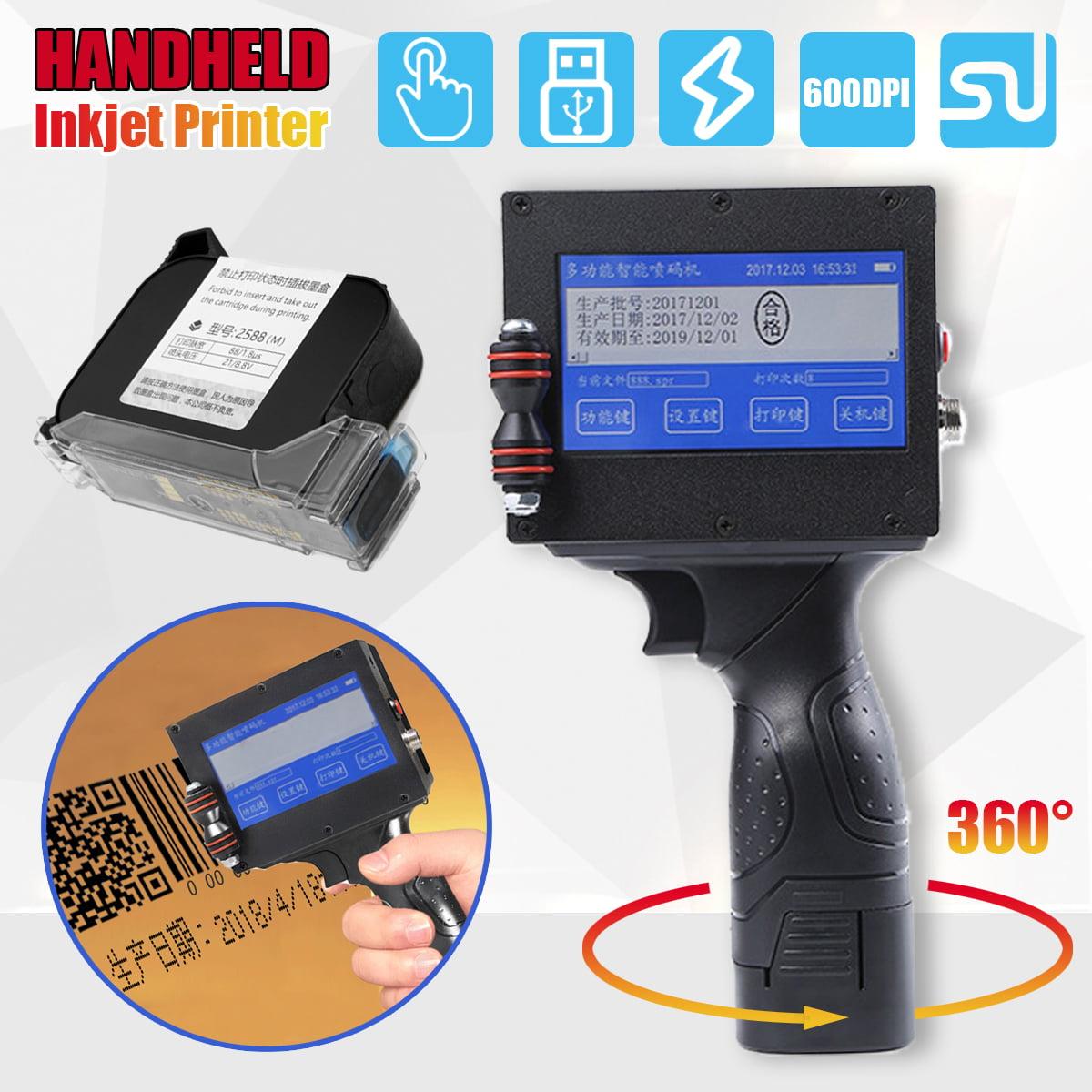 LED Touch Screen Handheld Smart Intelligent Inkjet Printer Coding Marking codingmachine Machine Jet Printing Date Graphics QR Code Black ink cartridge