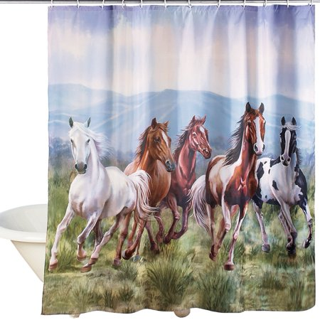 Western Galloping Horse Mountain Scene Shower Curtain - Bathroom Decor for Horse Lovers