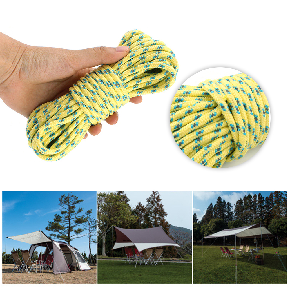10M High Visibility Reflective Guy Line Rope Camping Tent Tarp Accessories