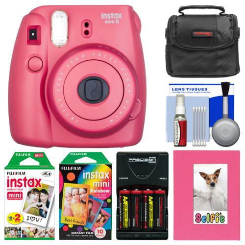 Fujifilm Instax Mini 8 Instant Film Camera (Raspberry) with Photo Album + Instant Film & Rainbow Film + Case + Batteries & Charger Kit