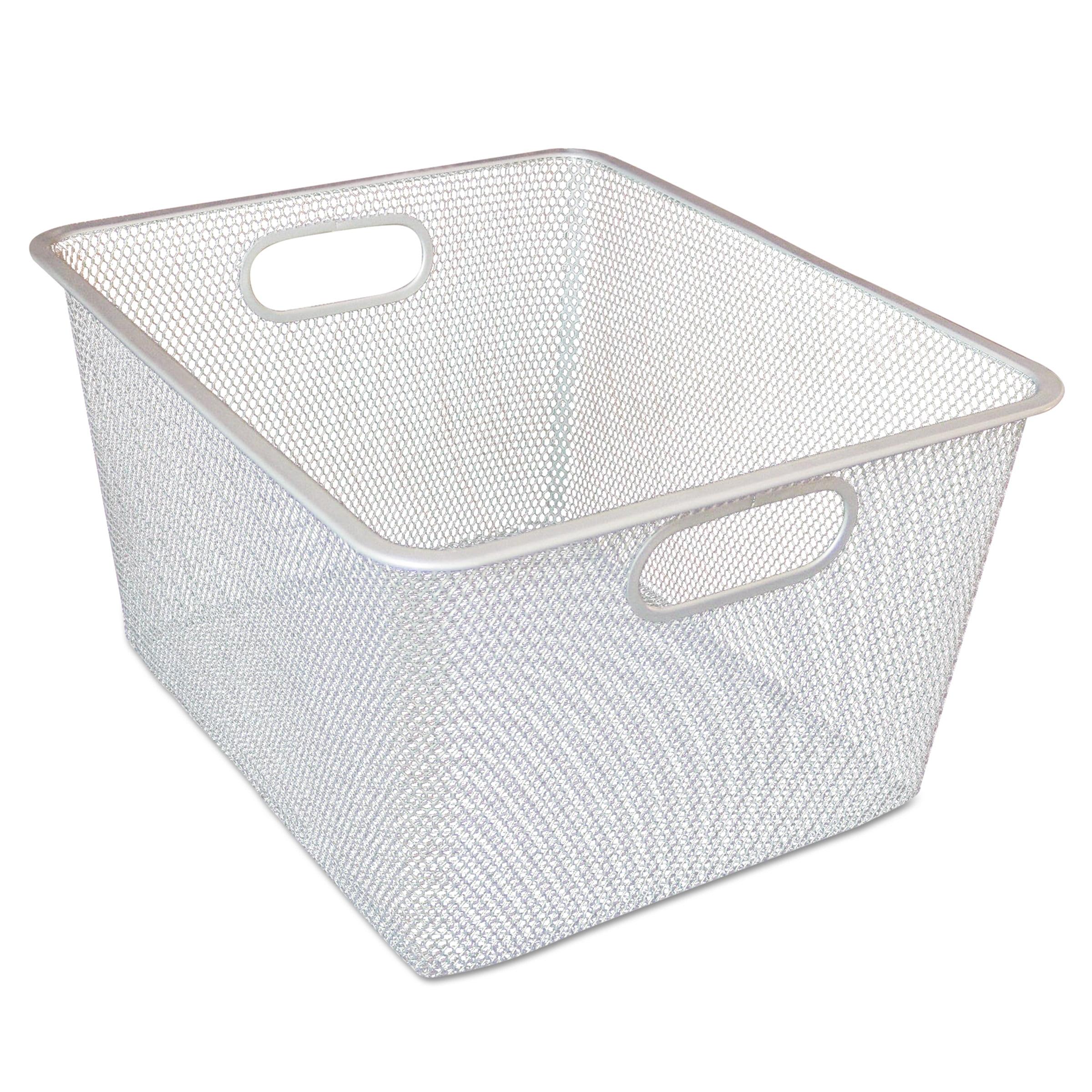 Alera Wire Mesh Nesting Shelving Baskets, 12 x 14 x 7 3/4, Silver, 2/Set