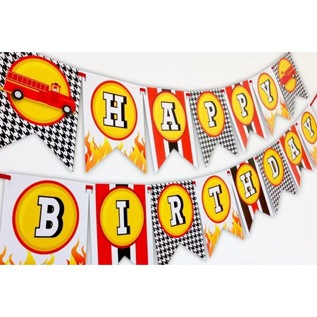 Fireman Party Happy Birthday Banner - Firefighter Party Decorations for $<!---->