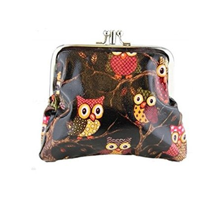 Owl Coin (Miss Lulu Designer Oil Cloth Clasp Coin Purse (Owl Black) )