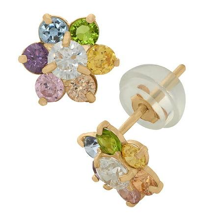 14k gold flower earrings