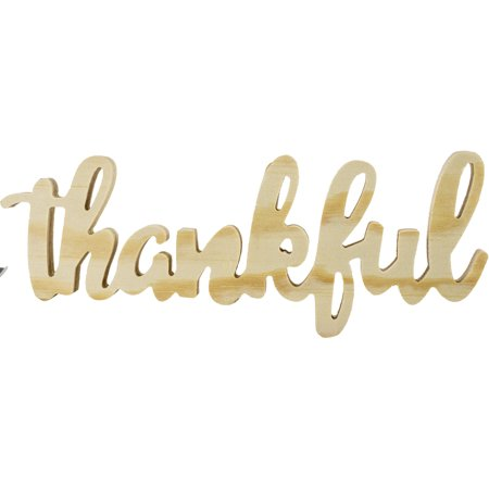 Mix The Media Wood Script Words-Thankful, Natural - image 1 of 1