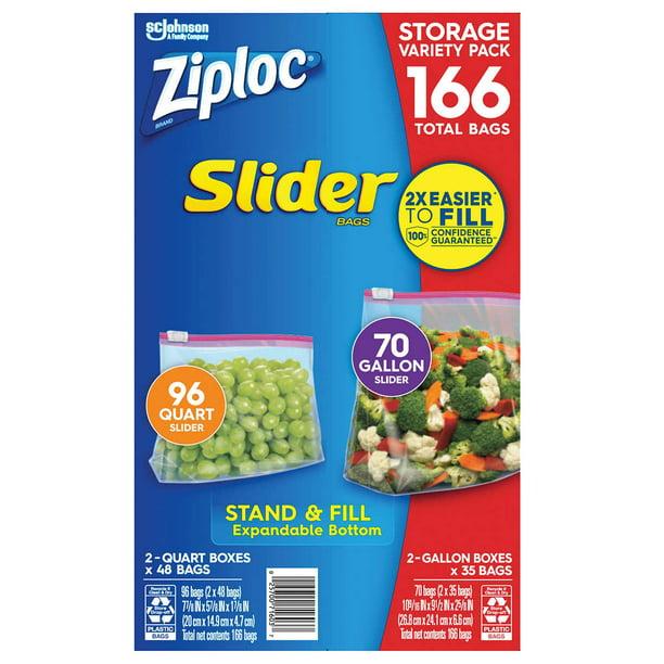Gallon 96 ct. Ziploc Slider Storage Bags 166 Count Variety Pack: Quart 70 ct