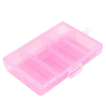 Pink Ps2 - Unique Bargains Screws Plastic 6 Compartments Storage Case Box Organizer Holder Clear Pink for Home Essential