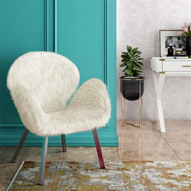 Cosmoliving Estelle Accent Chair With Faux Fur And Chrome