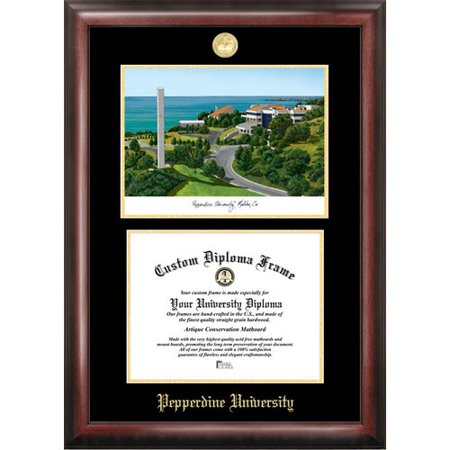 "Pepperdine University 8.5"" x 11"" Gold Embossed Diploma Frame with Campus Images Lithograph"
