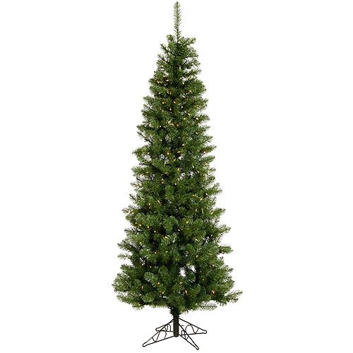 Pre-Lit 8.5 x 40 Salem Pencil Pine LED Artificial Christmas Tree, Green, White Lights