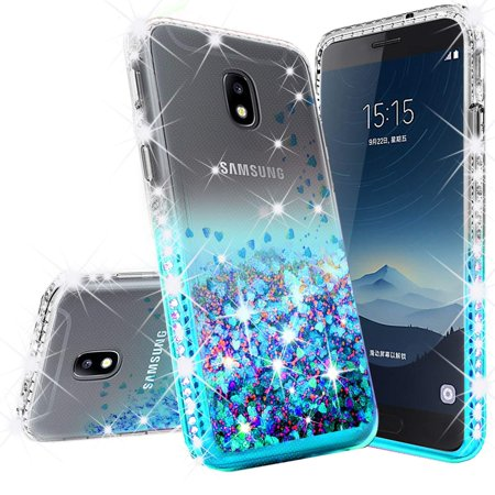 Glitter Cute Phone Case Samsung Galaxy J7 Star,J7 2018,J7v 2nd Gen,J7 Refine,J7 Aura Case,Liquid Glitter Waterfall Quicksand w/[Temper Glass] Soft Shock Proof Bling Bumper Cover Girls -