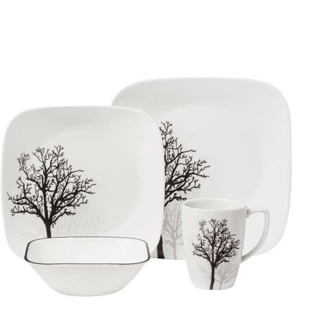 corelle 16 piece squares timber shadows dinnerware set