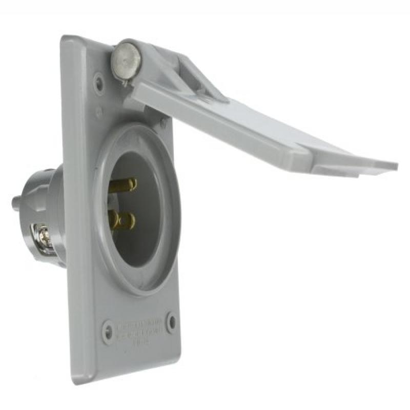 Leviton 5278-CWP 15 Amp, 125 Volt, Power Inlet Receptacle, Straight Blade, Industrial Grade, Grounding, Gray