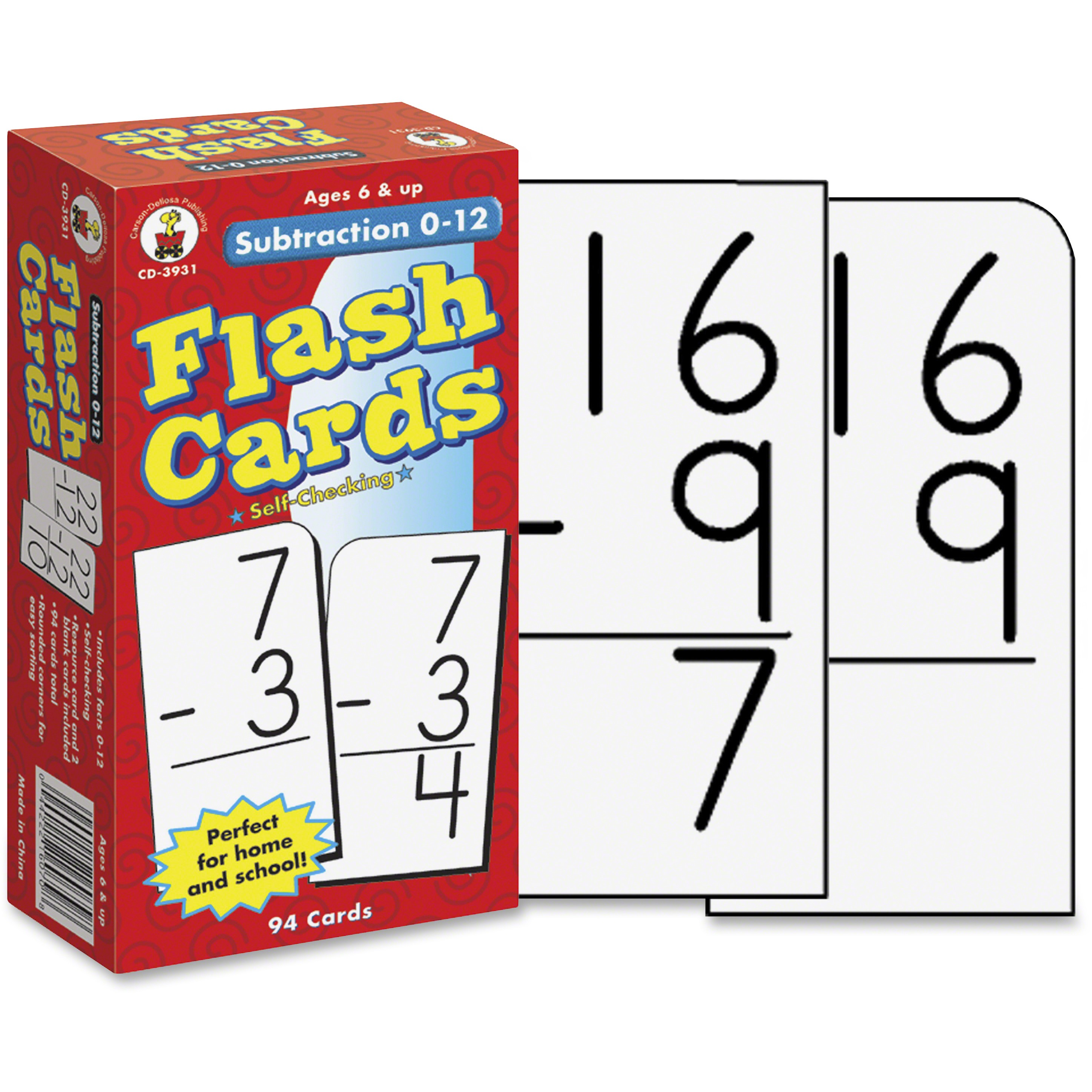 Carson-Dellosa Grades 1-3 Subtraction 0-12 Flash Cards