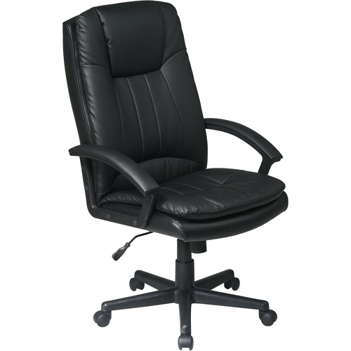 Office Star Products Work Smart High Back Executive Eco Leather Chair, Black