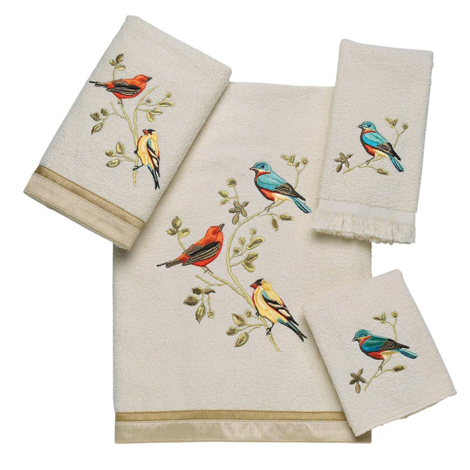 Avanti Linens Gilded Birds 4 Piece Cotton Towel Set
