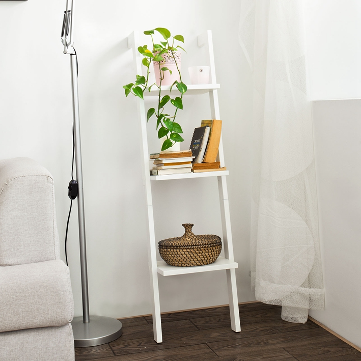 SoBuy Wooden 3 Tiers Wall Shelf Ladder Shelf, Storage Display Stand Rack, 33x121cm, White, FRG32-W