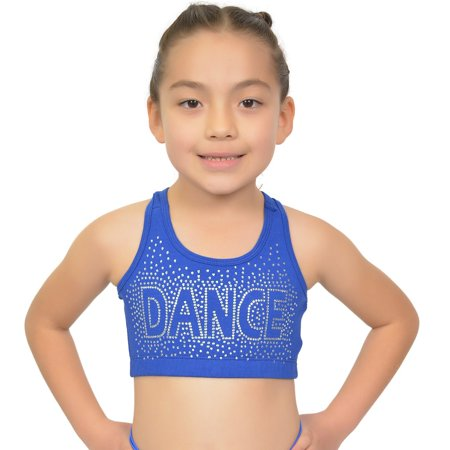 Girl's Racerback Sports Bra Dance in Rhinestone - Small (6) / Royal