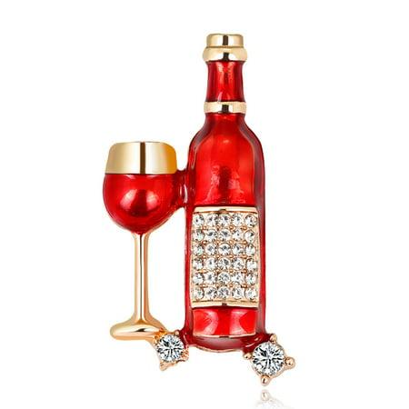Women Fashionable Chic Wine Bottle Wineglass Brooches Breastpin Halloween Party - Wine Bottle Jewelry