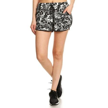 Women's Hawaiian Tropical Drawstring Waist Tie Beach Mini Shorts, L/XL