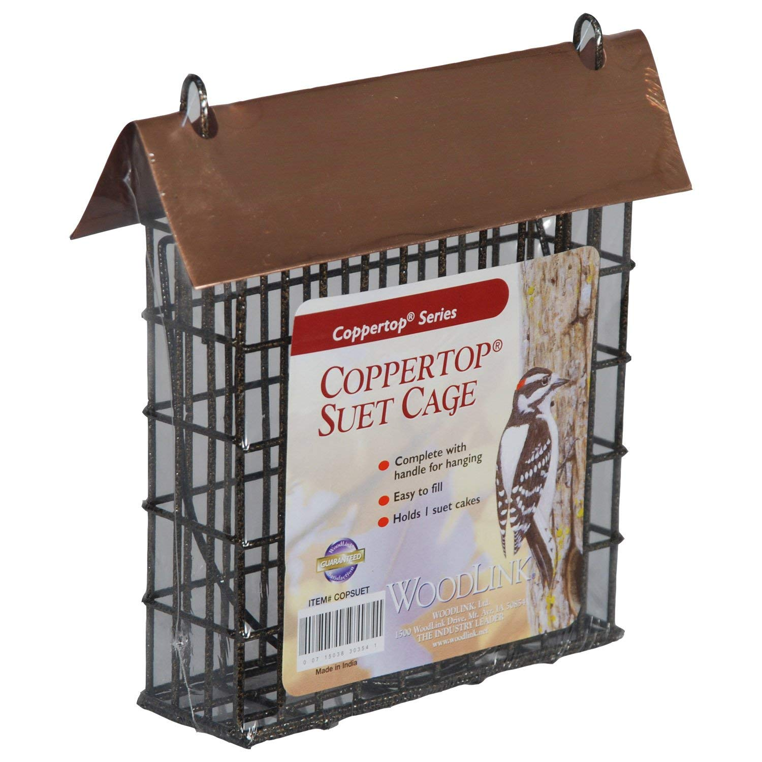 Coppertop Single Suet Cage Model COPSUET, Woodlink Coppertop Suet Feeder diamond shape attracts a variety of tree clinging birds By Woodlink