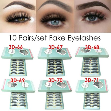10Pairs Natural Handmade Thick Black Eye Lashes Long Cross Eyelashe Extensions Beautiful False