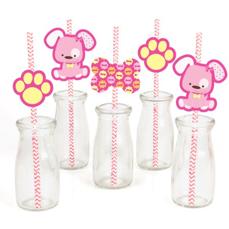 Girl Baby Shower Decor (Girl Puppy Dog - Paper Straw Decor - Baby Shower or Birthday Party Striped Decorative Straws - Set of)
