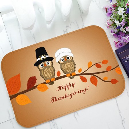 GCKG Owl Thanksgiving Day Non-Slip Doormat Indoor/Outdoor/Bathroom Doormat 23.6 x 15.7 Inches