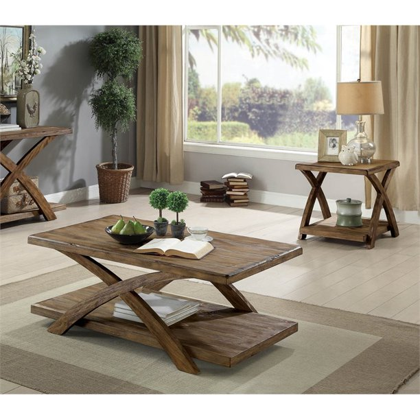 3 Piece Wood Coffee Table Set In Oak, 3 Piece Living Room Table Set