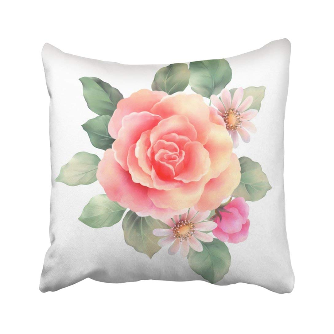 WOPOP Bouquet Red Rose Bunch Floral Flowers Spray Pillowcase Throw Pillow Cover 18x18 inches