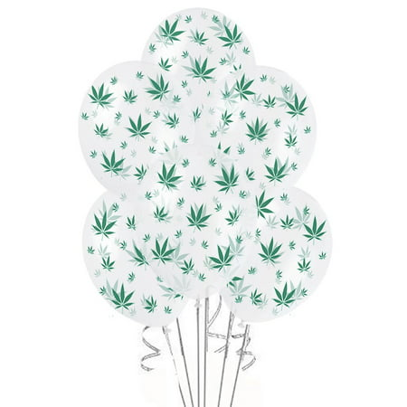 Marijuana Balloons 11in Premium Crystal Clear with All-Over print green Marijuana Leaves - Palm Tree Leaf Balloons