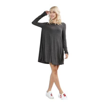 RS9921P - Women's Long Sleeve Flare Hem Loose Fit Round Neck Dress Tunic Top