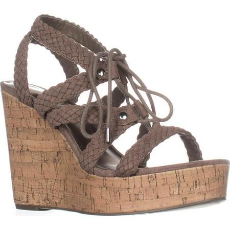 Girls Wedges (Womens madden girl Emboss Braided Wedge Sandals, Dark Taupe, 9.5)